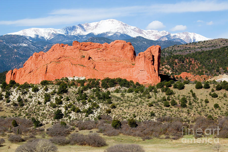 View Of Pikes Peak And Garden Of The Gods Park In Colorado Springs In Th Photograph