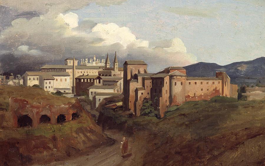 View Painting - View Of Saint John Lateran Rome by Joseph Desire Court