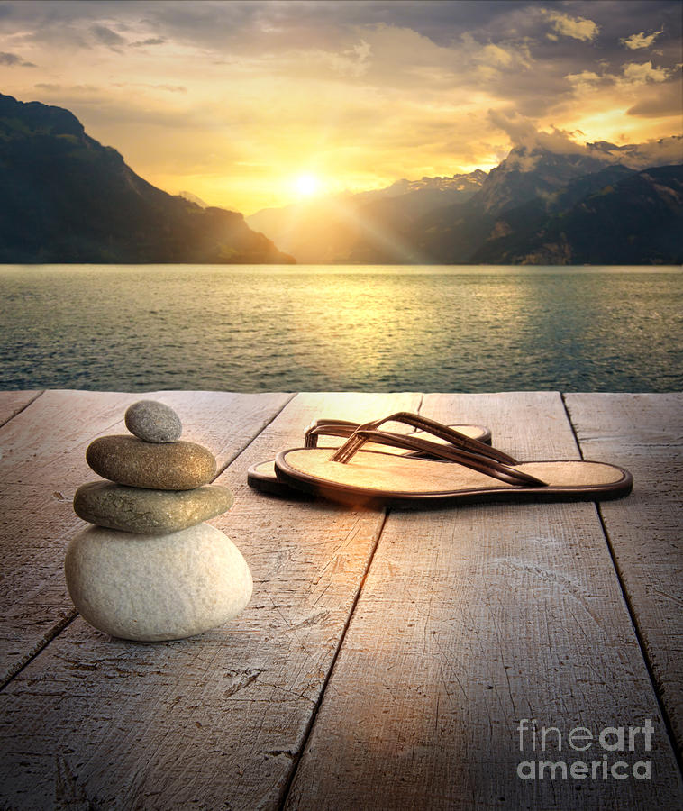 Arrangement Photograph - View Of Sandals And Rocks On Dock  by Sandra Cunningham