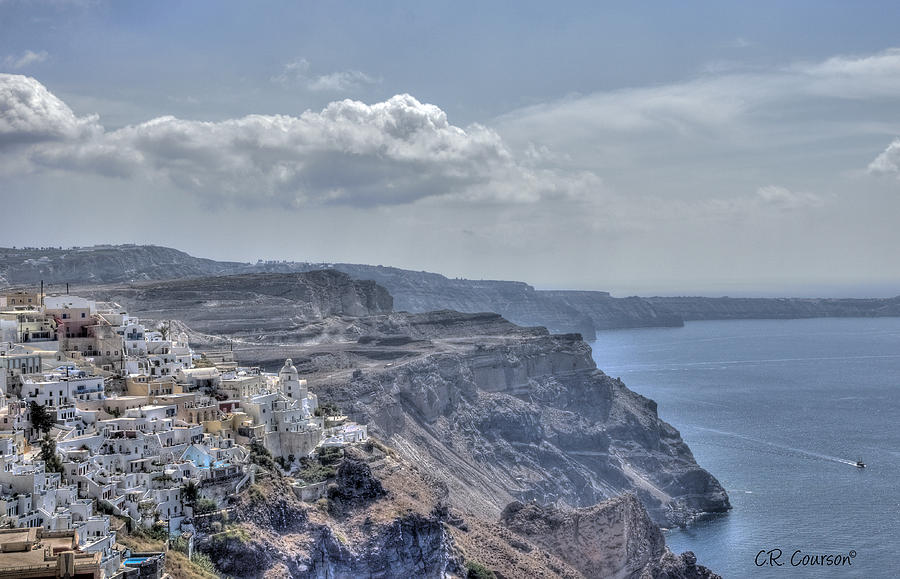 Santorini Photograph - View Of Santorini by CR  Courson