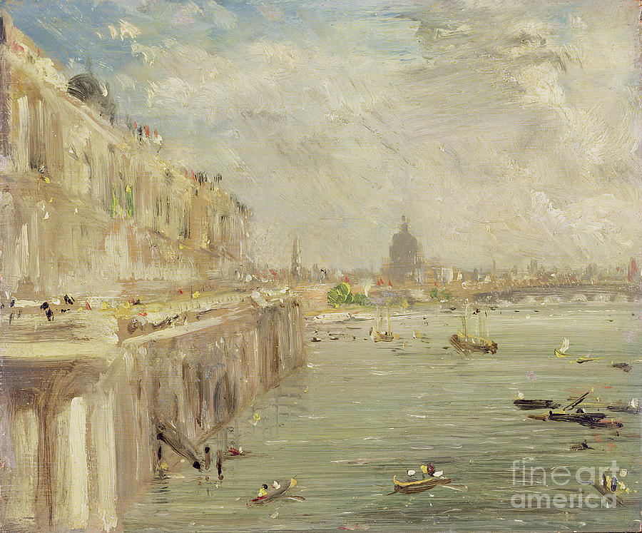 View Painting - View Of Somerset House Terrace And St. Pauls by John Constable