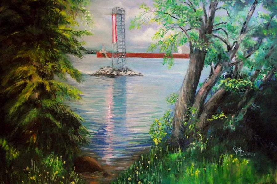 Freighters Painting - View of St. Marys River at 5 Mile by Kym Inabinet