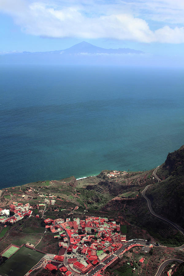 La Gomera Digital Art - View of Teide from La Gomera by Cambion Art