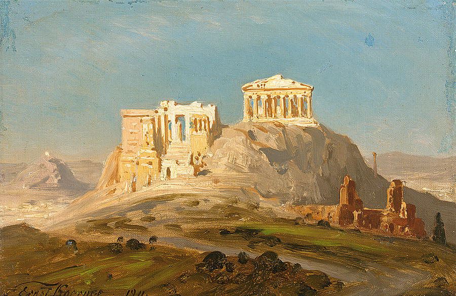 Karl Körner view of the akropolis athens painting by ernst karl eugen koerner