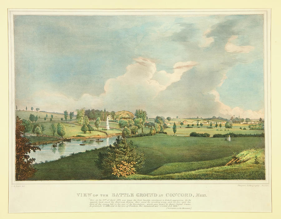 Artwork Painting - View Of The Battle Ground At Concord Mass by Fitz Henry Lane