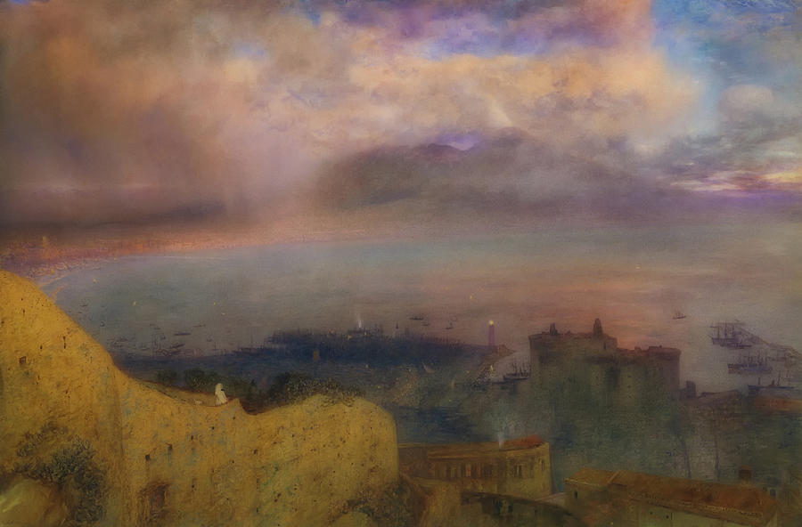 Artwork Painting - View Of The Bay Of Naples With Vesuvius Smoking In The Distance by Alfred Hunt