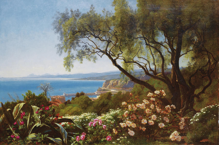 View Of The Bay Of Nice Painting by Francois-Louis Francais