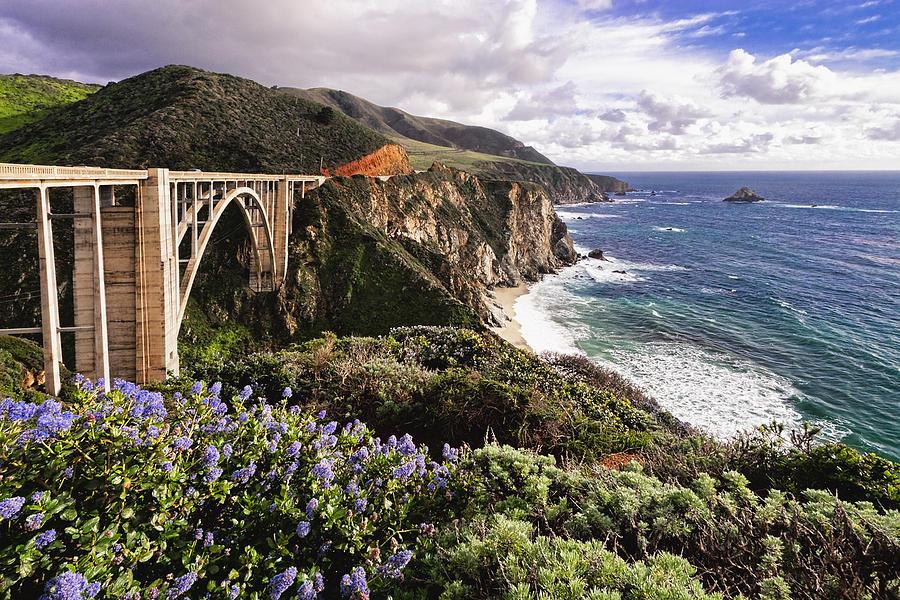 Arch Bridge Photograph - View Of The Bixby Creek Bridge Big Sur California by George Oze