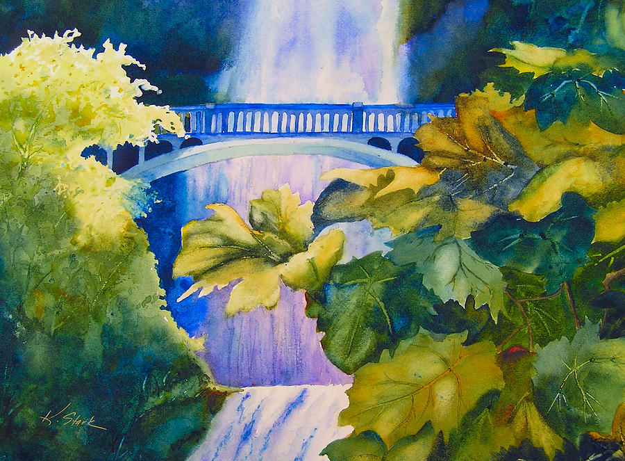 Waterfall Painting - View Of The Bridge by Karen Stark