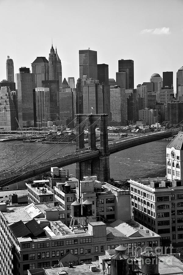 Brooklyn Bridge Photograph - View Of The Brooklyn Bridge by Madeline Ellis