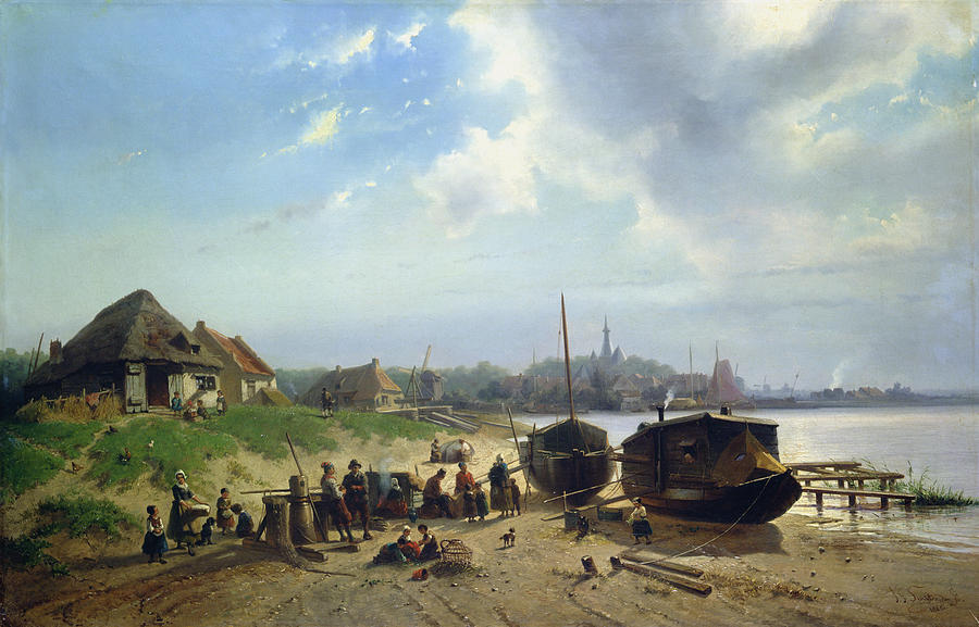 View Painting - View Of The Dutch Coast by Johan Gerard Smits