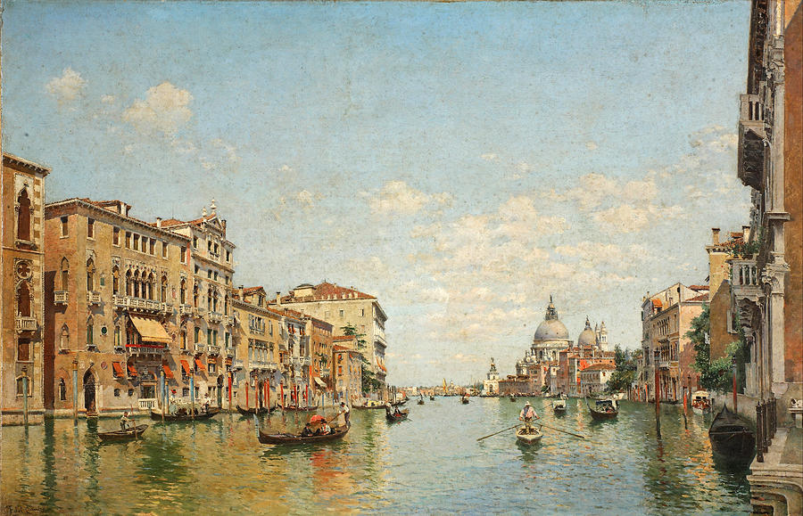 View Of The Grand Canal Of Venice Painting by Federico del Campo