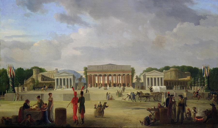 View Painting - View Of The Grand Theatre Constructed In The Place De La Concorde For The Fete De La Paix by Jean Baptiste Louis Cazin