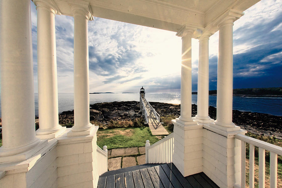 Atlantic Ocean Photograph - View Of The Marshall Point Lighthouse From The Keepers House by George Oze