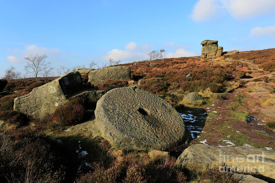Moor Photograph - View Of The Mother Cap Gritstone Rock Formation, Millstone Edge by Dave Porter