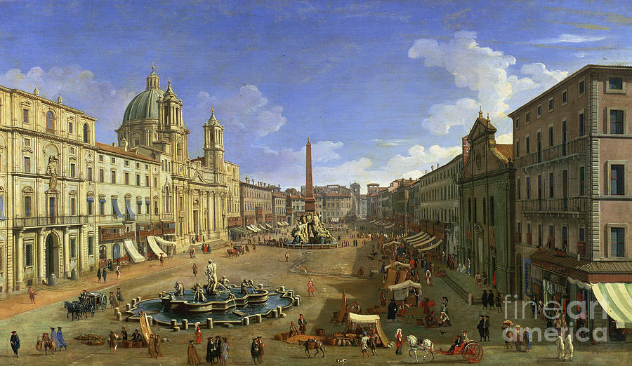 Rome Painting - View Of The Piazza Navona by Canaletto
