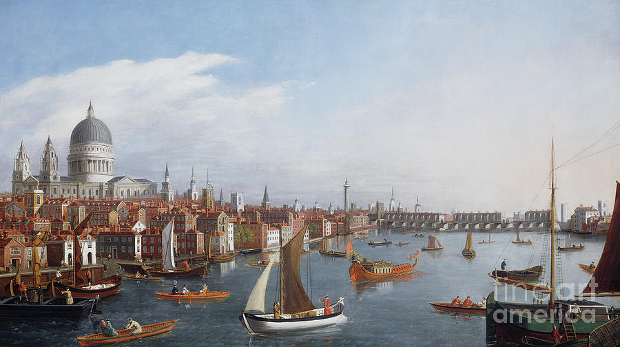 Ferry Painting - View Of The River Thames With St Pauls And Old London Bridge   by William James