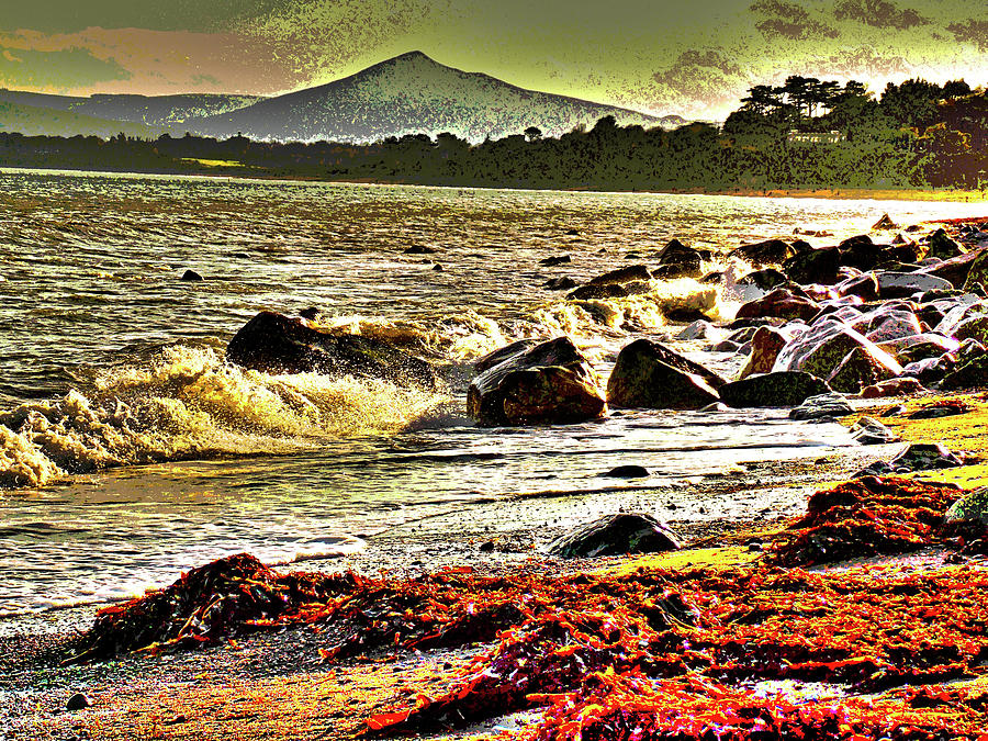 Beach Digital Art - View Of The Sugarloaf Mountain From Killiney, 1b by Zsuzsanna Szabo