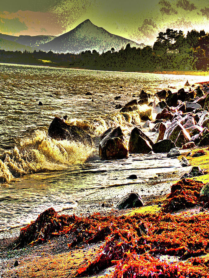 Beach Digital Art - View Of The Sugarloaf Mountain From Killiney by Zsuzsanna Szabo