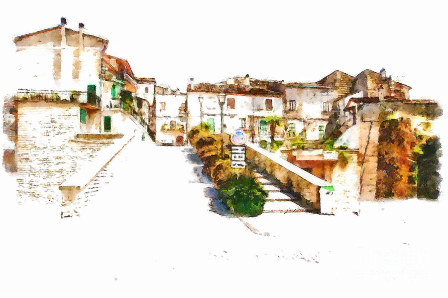 View Painting - View Of The Village by Giuseppe Cocco