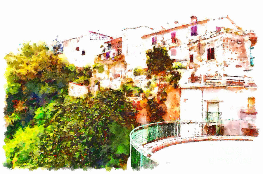 View Painting - View Of The Village With Trees And Curve by Giuseppe Cocco