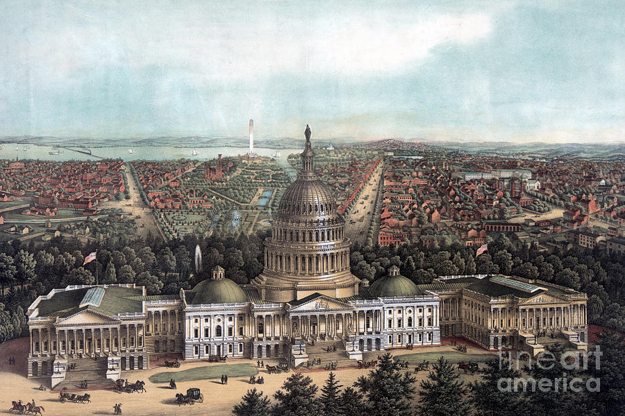 Dc Painting - View Of Washington Dc by E Sachse