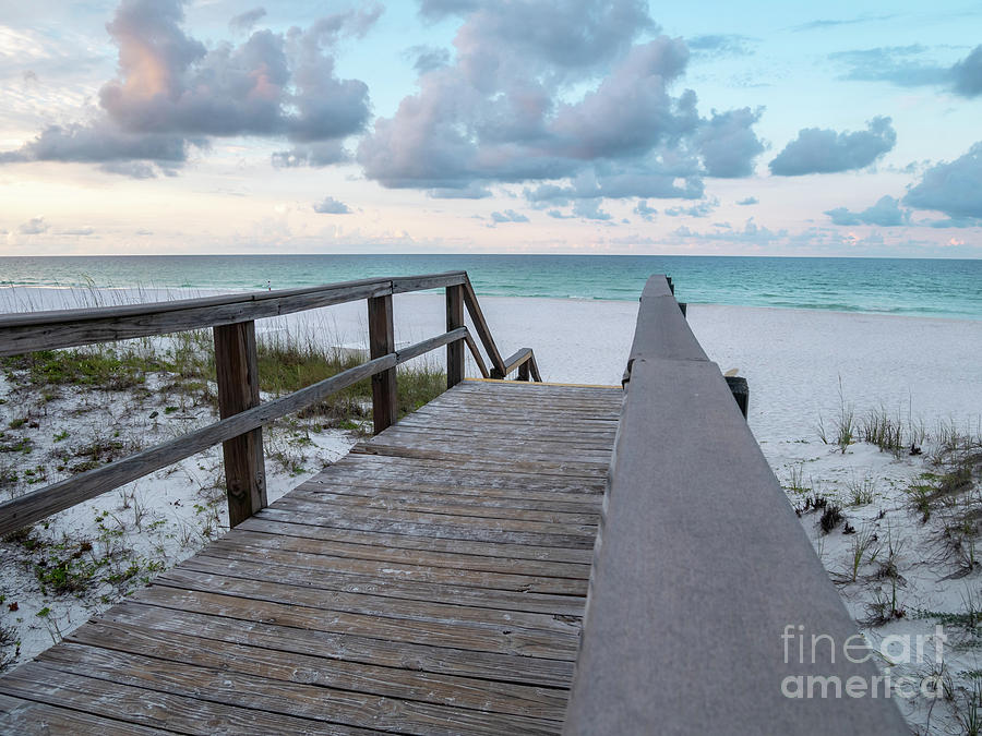 Bridge Photograph - View Of White Sand And Blue Ocean From Wooden Boardwalk by PorqueNo Studios