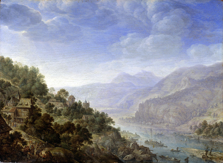 Herman Saftleven Painting - View On The Rhine by Herman Saftleven