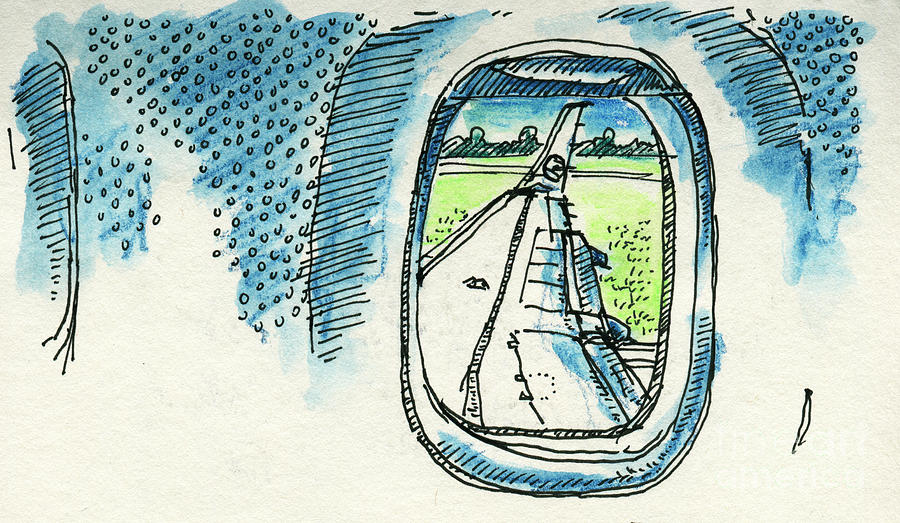 Airplane Drawing - View Out Of Airplane Window Drawing by Frank Ramspott