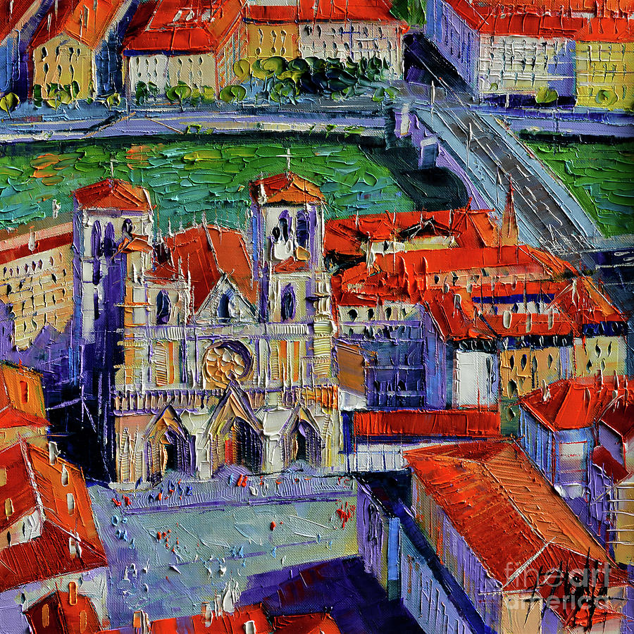 Lyon Painting - View Over Cathedral Saint Jean Lyon by Mona Edulesco