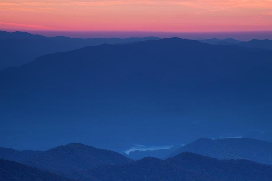 Sunset Photograph - View Towards Fontana Lake At Sunset by Andrew Soundarajan