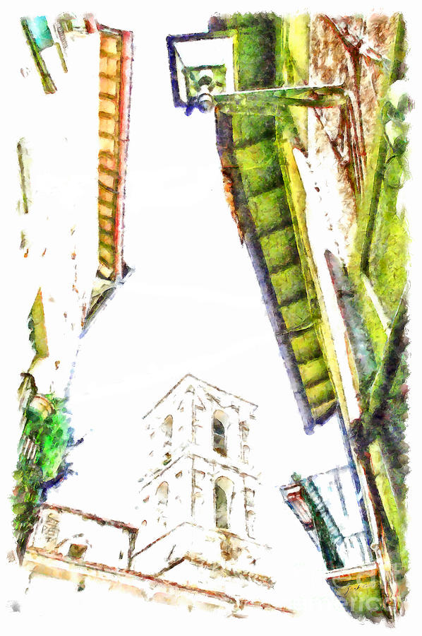 View Painting - View With Bell Tower by Giuseppe Cocco