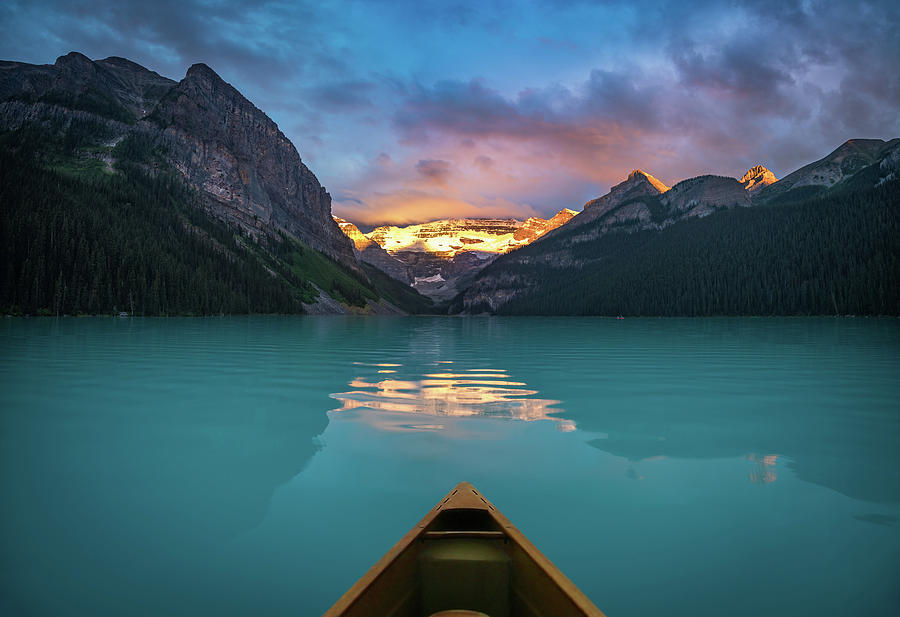 Banff Photograph - Viewing Snowy Mountain In Rising Sun From A Canoe by William Freebilly photography