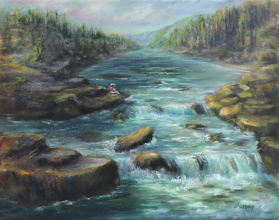 Rapids Painting - Viewing The Rapids by Katalin Luczay