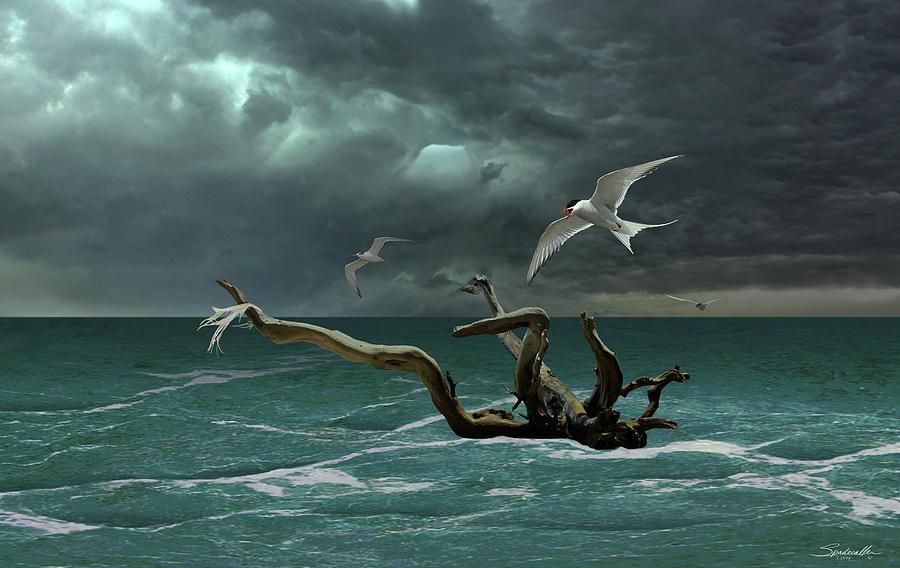 Seascape Digital Art - Vigil At Sea by M Spadecaller