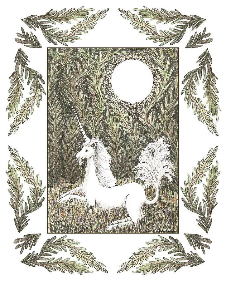 Unicorn Drawing - Vigilant Unicorn by Lise Winne