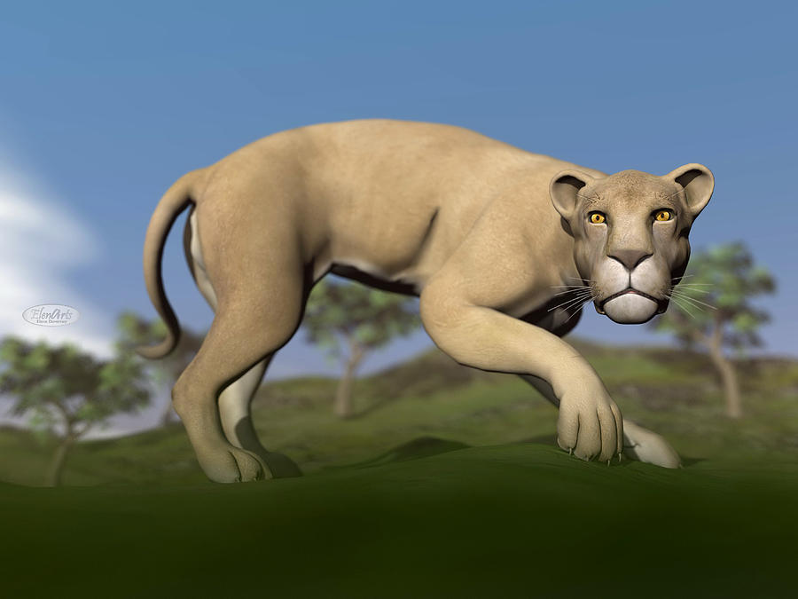 Vigilent Lioness - 3d Render Digital Art