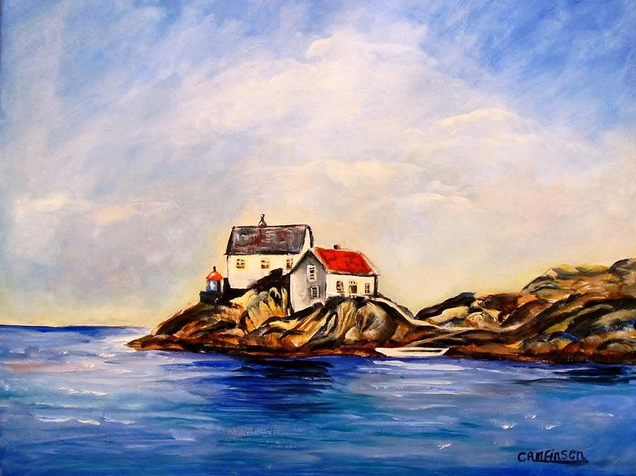 Lighthouse Painting - Vikeholmen Lighthouse by Carol Allen Anfinsen