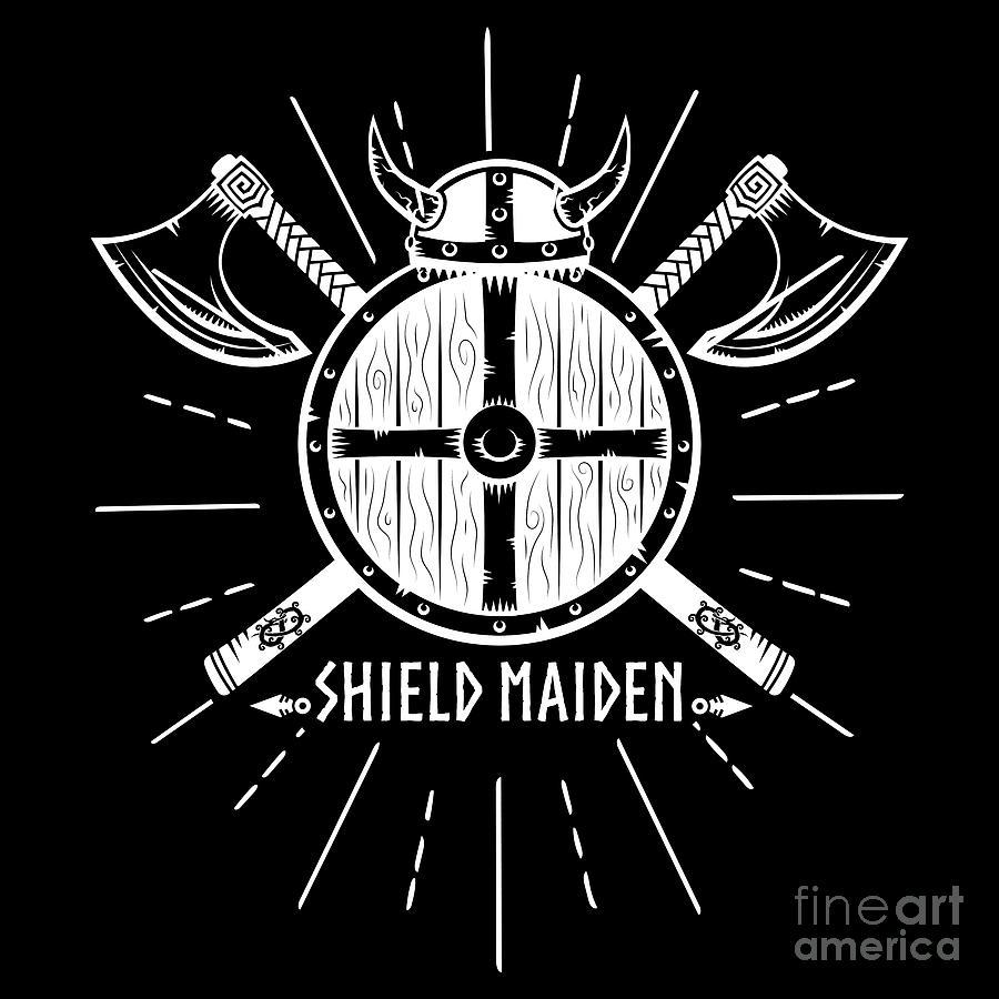 Viking Shield Maiden Woman Warrior Horned Helmet Crossed Axes