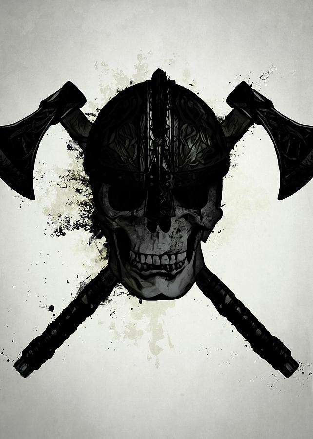 Viking Digital Art - Viking Skull by Nicklas Gustafsson