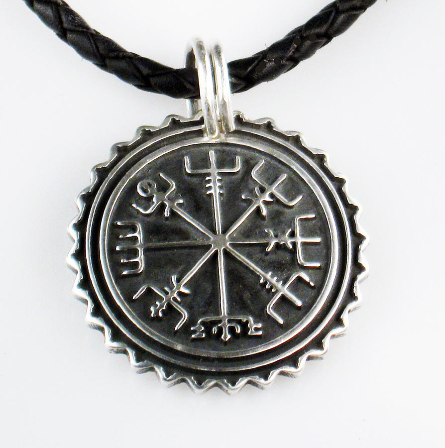 Viking vegvisir nautical compass protection sterling silver pendant jewelry jewelry viking vegvisir nautical compass protection sterling silver pendant necklace keyring by aloadofball Image collections