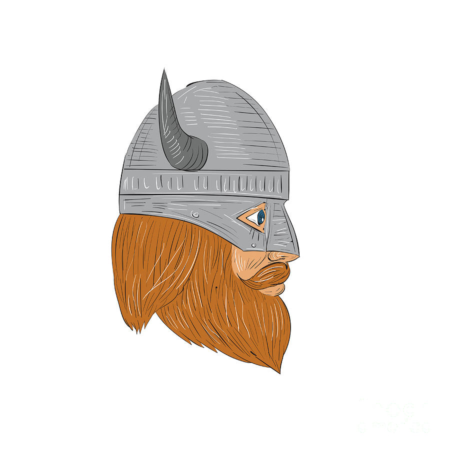 Viking Warrior Head Right Side View Drawing Digital Art by ...