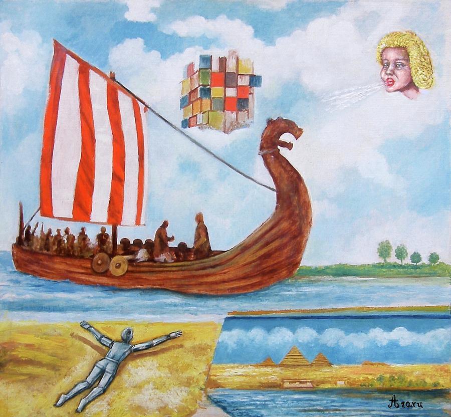 Vikings Painting - Vikings by Rudolf  Zamazal