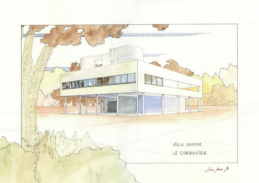 Villa Savoye Le Corbusier Painting by Juan Bosco
