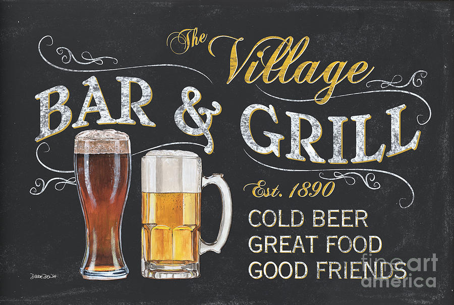 Beer Painting - Village Bar And Grill by Debbie DeWitt