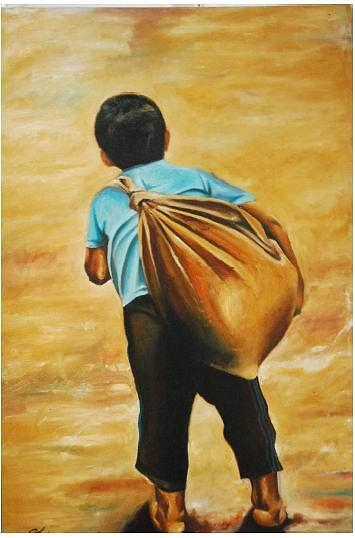 Surrealism Painting - Village Boy- Where To Go by Shahrom Sulaiman