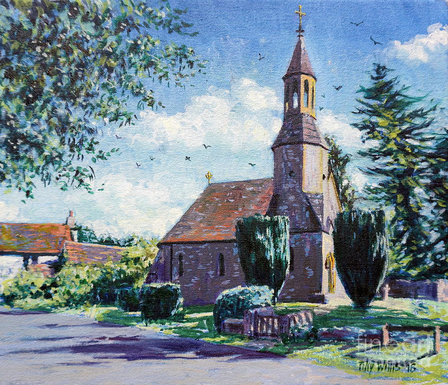 Village Painting - Village Church  by Tilly Willis