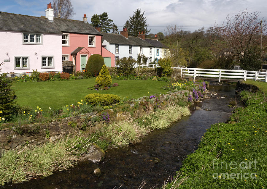 Cottages Photograph - VILLAGE COTTAGES english peak district village with colorful houses garden stream and bridge by Andy Smy