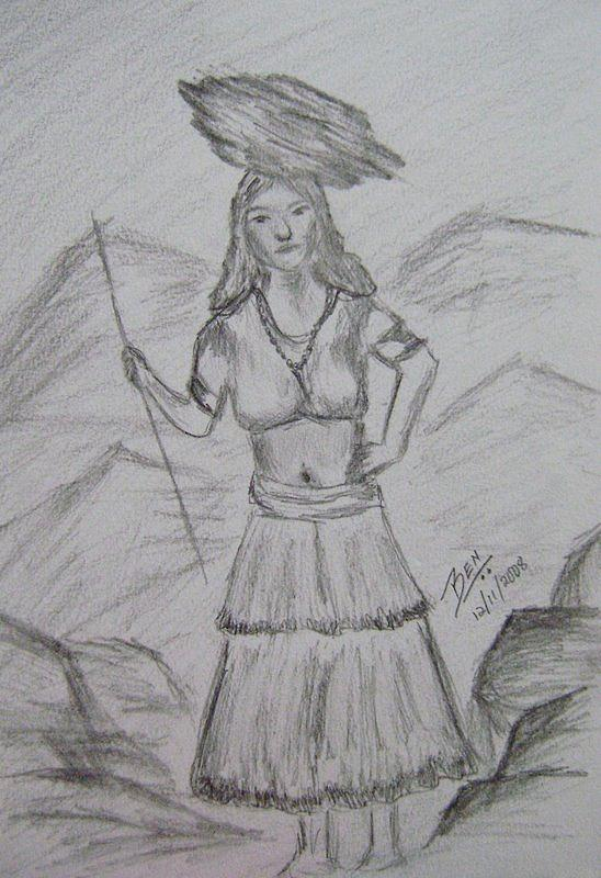 Lady drawing village girl by bency baby