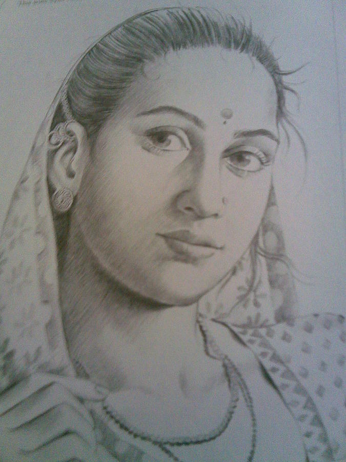 Village Girl Drawing by Nischitha Shenoy